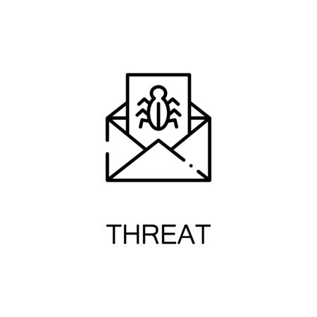 email bomb: Threat icon. Single high quality outline symbol for web design or mobile app. Thin line sign for design logo. Black outline pictogram on white background Illustration