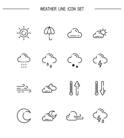 Weather Flat Icon Set Collection Of High Quality Outline Symbols