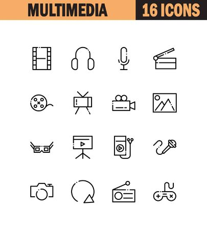 ios: Multimedia flat icon set. Collection of high quality outline symbols for web design, mobile app. Vector thin line icons or logo of mail