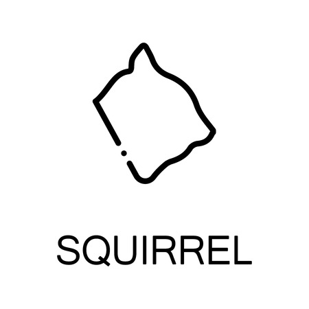 mink: Squirrel icon. Single high quality outline symbol for web design or mobile app. Thin line sign for design logo. Black outline pictogram on white background Illustration