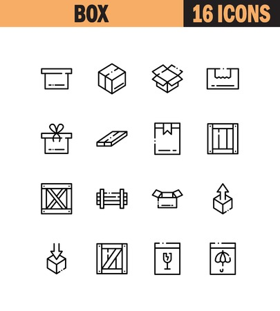 Box Flat Icon Set Collection Of High Quality Outline Symbols