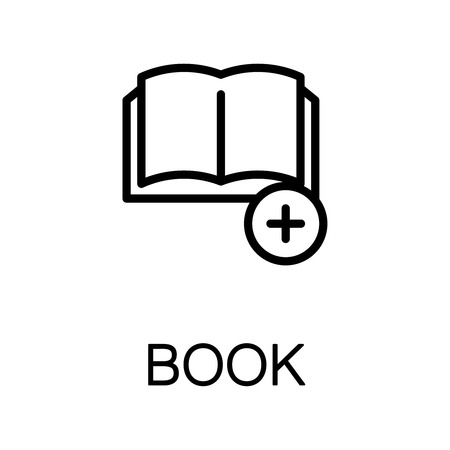electronic publishing: Book icon. Single high quality outline symbol for web design or mobile app. Thin line sign for design logo. Black outline pictogram on white background