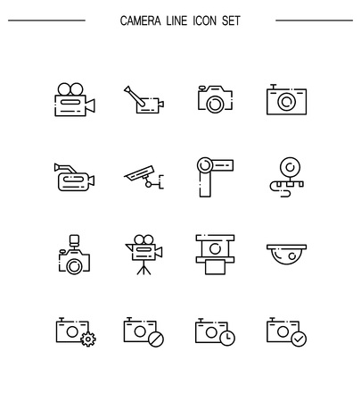 Camera flat icon set. Collection of high quality outline symbols for web design, mobile app.