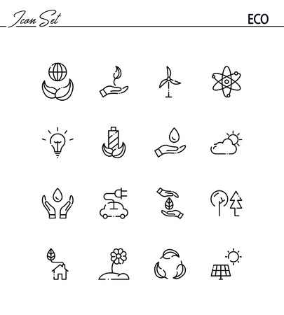 eco icon: Eco flat icon set. Collection of high quality outline symbols for web design, mobile app. Eco vector thin line icons or logo.