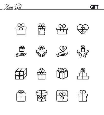 Gift flat icon set. Collection of high quality outline symbols for web design, mobile app. Gift thin line icons or .