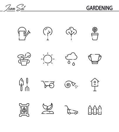 pruning: Gardening flat icon set. Collection of high quality outline symbols for web design, mobile app. Gardening thin line icons . Illustration
