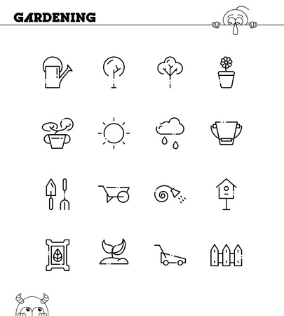 raking: Gardening flat icon set. Collection of high quality outline symbols for web design, mobile app. Gardening thin line icons . Illustration