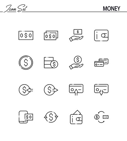 time account: Money flat icon set. Collection of high quality outline symbols for web design, mobile app. Money vector thin line icons or logo.
