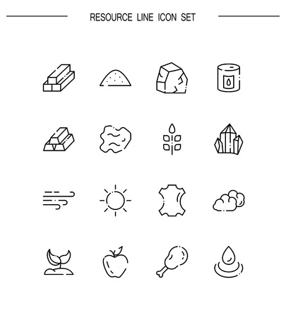 Resourse flat icon set. Collection of high quality outline symbols for web design, mobile app. Resourse vector thin line icons or logo.