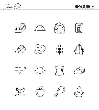 resourse: Resourse flat icon set. Collection of high quality outline symbols for web design, mobile app. Resourse vector thin line icons or logo.
