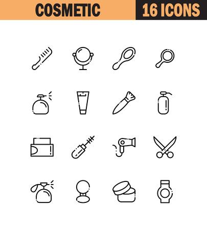 Cosmetic Flat Icon Set Collection Of High Quality Outline Symbols