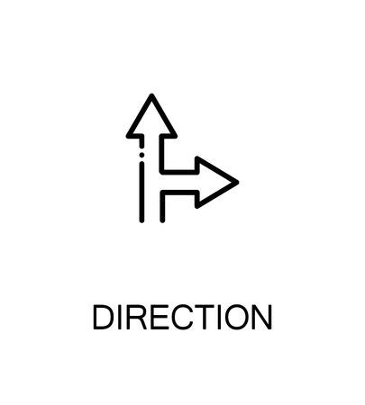 Direction icon. Single high quality outline symbol for web design or mobile app. Thin line sign for design logo. Black outline pictogram on white background Çizim