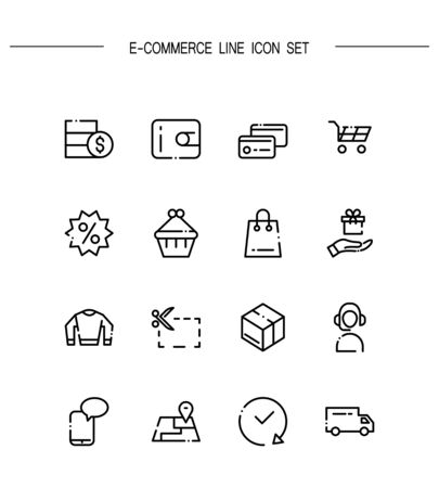 ecommerce icons: E-commerce flat icon set. Collection of high quality outline symbols for web design, mobile app. E-commerce vector thin line icons or logo.