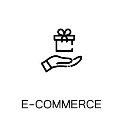 E-commerce icon. Single high quality outline symbol for web design or mobile app. Thin line sign for design logo. Black outline pictogram on white background Illustration