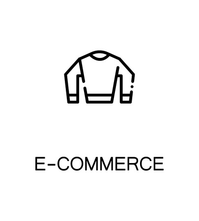 E-commerce icon. Single high quality outline symbol for web design or mobile app. Thin line sign for design logo. Black outline pictogram on white background Illustration