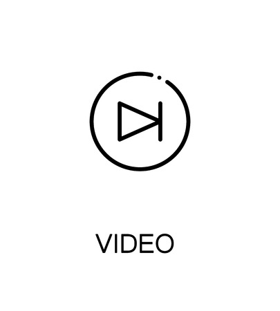 eject: Video icon. Single high quality outline symbol for web design or mobile app. Thin line sign for design logo. Black outline pictogram on white background