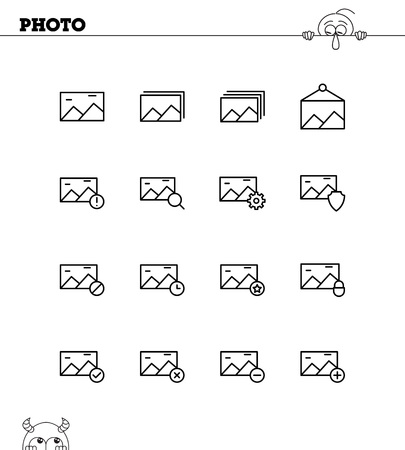 Photo Flat Icon Set Collection Of High Quality Outline Symbols