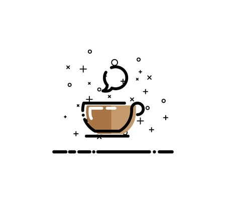 pause icon: Coffee icon. Single high quality outline symbol for web design or mobile app. Thin line sign for design logo. Black outline pictogram on white background Illustration