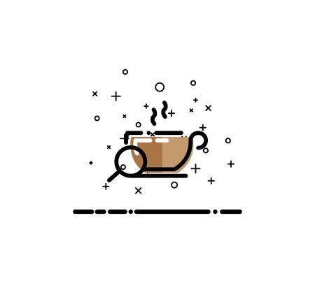 Coffee icon. Single high quality outline symbol for web design or mobile app. Thin line sign for design logo. Black outline pictogram on white background Illustration