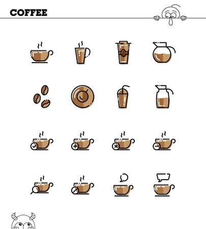 Coffee flat icon set. Collection of high quality outline symbols for web design, mobile app. Coffee vector thin line icons or logo.