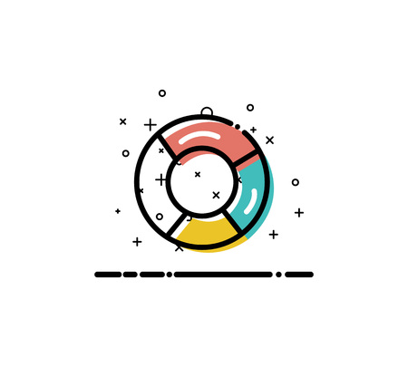 Chart  icon. Single high quality outline symbol for web design or mobile app. Thin line sign for design logo. Color line symbol on white background Illustration