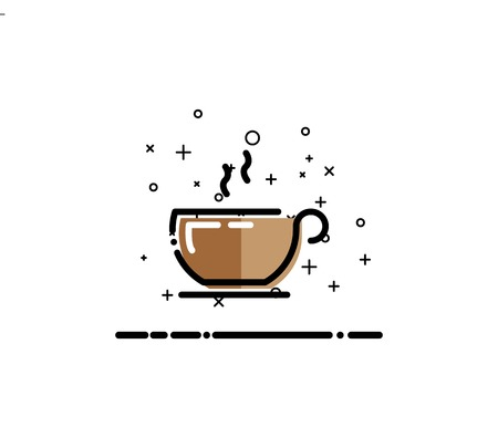Coffee icon. Single high quality outline symbol for web design or mobile app. Thin line sign for design logo. Black outline pictogram on white background Illustration