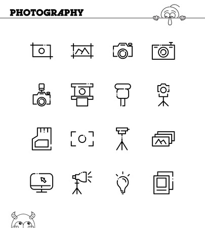 polarizing: Photography flat icon set. Collection of high quality outline symbols for web design, mobile app.
