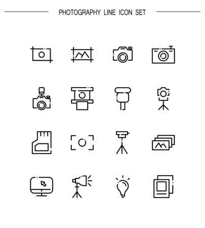 Photography flat icon set. Collection of high quality outline symbols for web design, mobile app.