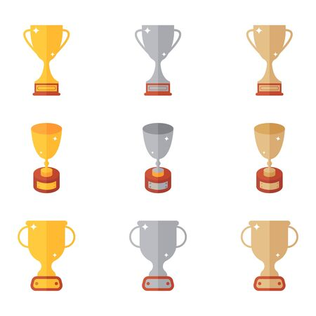 Trophy set. Collection of high quality icons of prizel for web design or mobile app. Golden, silver, bronze cup. Golden award. Silver award. Bronze award. Golden prize. Silver prize. Bronze prize.