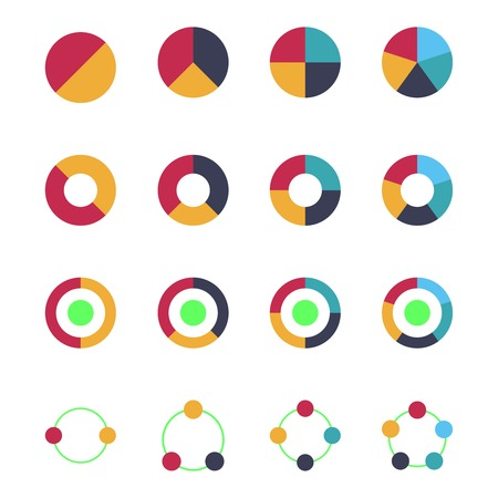 Flat Pie Chart Set In Modern Style For Web Design Or Mobile App