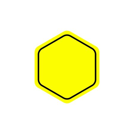 Flat warning sign. Warning signpost vector illustration. Single yellow symbol on white background. Color attention sign. Isolated vector warning sign.