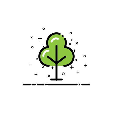 Tree icon. Single high quality outline symbol for web design or mobile app. Color outline icon on white background