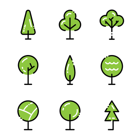Tree Icon Set Collection High Quality Outline Symbols For Web