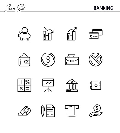 cash register building: Banking flat icon set. Collection of high quality outline symbols for web design, mobile app. Banking vector thin line icons or logos.