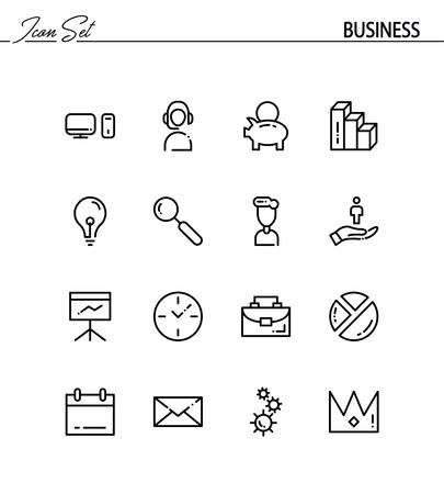 Business Flat Icon Set Collection Of High Quality Outline Symbols