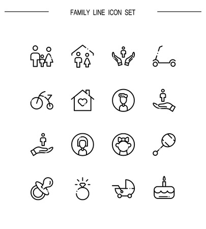 Family icon set. Collection of high quality outline symbols for web design, mobile app. Family vector thin line icons