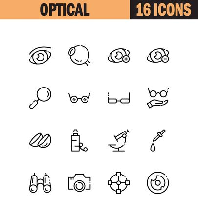 Optical flat icon set. Collection of high quality outline symbols for web design, mobile app. Optical vector thin line icons or logo. Illustration