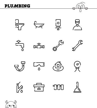 boiler: Plumbing flat icon set. Collection of high quality outline symbols for web design, mobile app. Plumbing vector thin line icons or logo.
