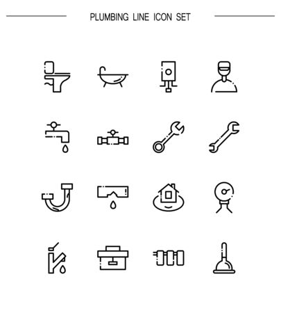 sink drain: Plumbing flat icon set. Collection of high quality outline symbols for web design, mobile app. Plumbing vector thin line icons or logo.