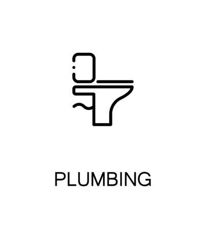 Plumbing icon. Single high quality outline symbol for web design or mobile app. Thin line sign for design logo. Black outline pictogram on white background Vettoriali