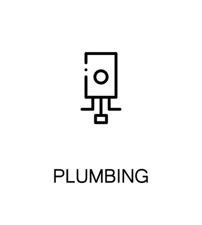 temp: Plumbing icon. Single high quality outline symbol for web design or mobile app. Thin line sign for design logo. Black outline pictogram on white background Illustration