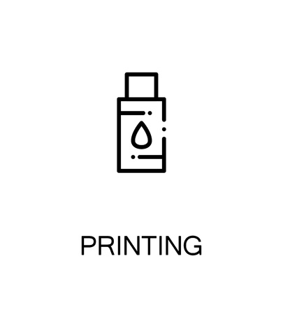 symol: Printing icon. Single high quality outline symbol for web design or mobile app. Thin line sign for design logo. Black outline pictogram on white background