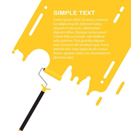 Roller vector illustration. Flat construction tool on white background. Yellow paint on a wall with white text. Flat repair tool for web design.