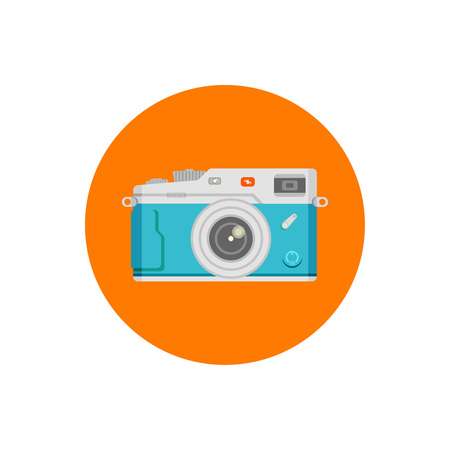 Blue camera in orange round on white background vector concept. Retro photo camera illustration in modern flat style. Color picture for design web site, web banners, printed material. Camera flat icon