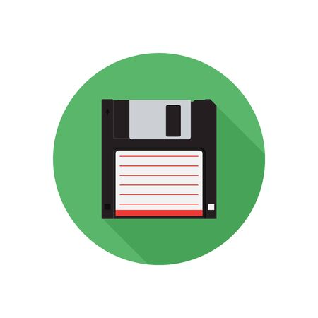 Disk in round on white background concept. Floppy illustration in modern flat style. Color picture for design web site, web banner, printed material. Floppy disk icon. Disk flat element.