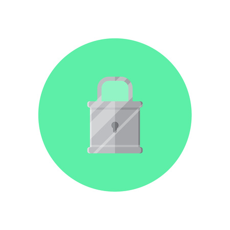 Padlock in green round on background vector concept. Lock illustration in modern flat style. Color picture for design web site, web banner, printed material. Lock flat icon set. Padlock flat icon