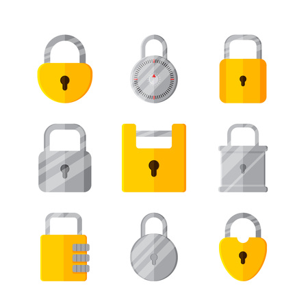 printed material: Lock on white background vector concept. Padlock illustration in modern flat style. Color picture for design web site, web banner, printed material. Lock flat icon set. Vector element