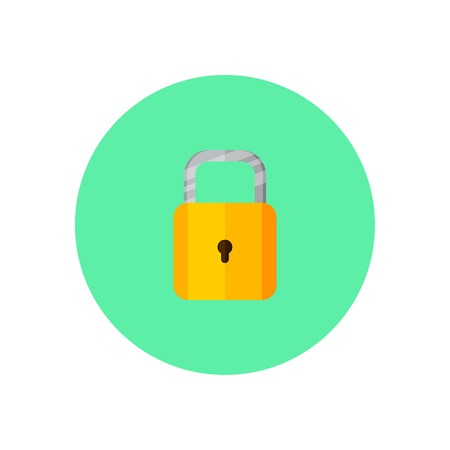 printed material: Padlock in green round on background vector concept. Lock illustration in modern flat style. Color picture for design web site, web banner, printed material. Lock flat icon set. Padlock flat icon