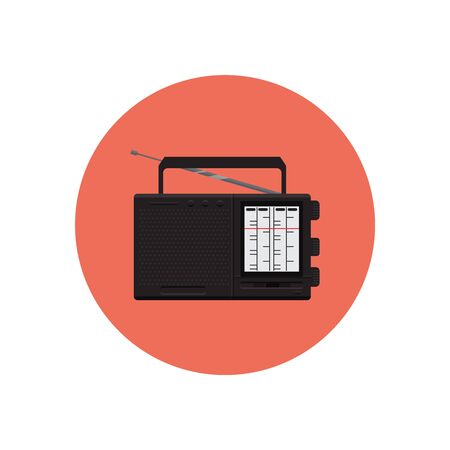 technoligy: Radio on background vector concept. Technoligy illustration in modern flat style. Color picture for design web site, web banner, printed material. Radio flat icon set. Radio flat icon