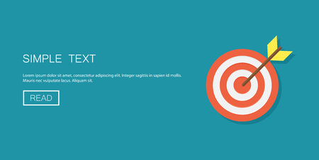Target with arrow on background vector concept. Goal illustration in modern flat style. Color picture for design web site, web banner, printed material. Focus flat icon. Illustration